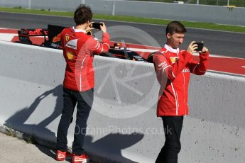 World © Octane Photographic Ltd. Formula 1 - Winter Test 2. Scuderia Ferrari team members watching the action on the pit exit. Circuit de Barcelona-Catalunya. Tuesday 7th March 2017. Digital Ref: 1784CB1D5344