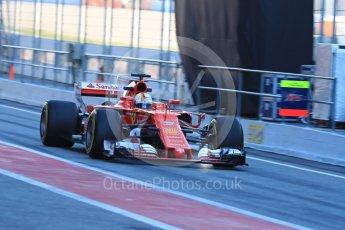 World © Octane Photographic Ltd. Formula 1 - Winter Test 2. Sebastian Vettel - Scuderia Ferrari SF70H. Circuit de Barcelona-Catalunya. Tuesday 7th March 2017. Digital Ref :1784LB1D2624