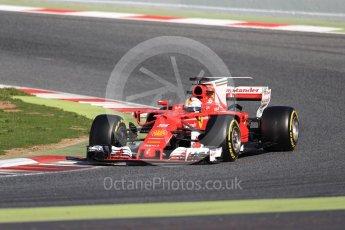 World © Octane Photographic Ltd. Formula 1 - Winter Test 2. Sebastian Vettel - Scuderia Ferrari SF70H. Circuit de Barcelona-Catalunya. Tuesday 7th March 2017. Digital Ref: 1784LB1D3655