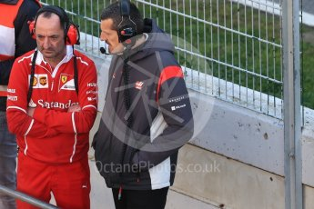 World © Octane Photographic Ltd. Formula 1 - Winter Test 2. Guenther Steiner - Team Principal of Haas F1 Team talking with Ferrari. Circuit de Barcelona-Catalunya. Friday 10th March 2017. Digital Ref: 1787LB1D7091