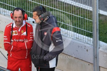 World © Octane Photographic Ltd. Formula 1 - Winter Test 2. Guenther Steiner - Team Principal of Haas F1 Team talking with Ferrari. Circuit de Barcelona-Catalunya. Friday 10th March 2017. Digital Ref: 1787LB1D7096