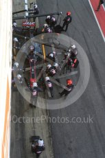World © Octane Photographic Ltd. Formula 1 - Winter Test 2. Romain Grosjean - Haas F1 Team VF-17 and team doing a pit stop. Circuit de Barcelona-Catalunya. Friday 10th March 2017. Digital Ref: 1787LB5D0137