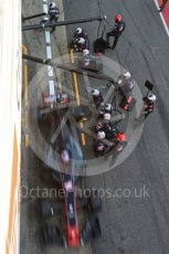 World © Octane Photographic Ltd. Formula 1 - Winter Test 2. Romain Grosjean - Haas F1 Team VF-17 and team doing a pit stop. Circuit de Barcelona-Catalunya. Friday 10th March 2017. Digital Ref: 1787LB5D0159