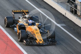 World © Octane Photographic Ltd. Formula 1 - Winter Test 1. Jolyon Palmer - Renault Sport F1 Team R.S.17. Circuit de Barcelona-Catalunya. Wednesday 1st March 2017. Digital Ref :1782CB1D4403