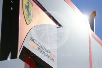 World © Octane Photographic Ltd. Formula 1 - Winter Test 1. Scuderia Ferrari logo in the sun. Circuit de Barcelona-Catalunya. Wednesday 1st March 2017. Digital Ref :1782CB1D8584