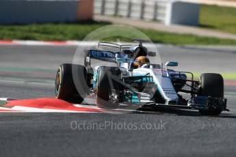 World © Octane Photographic Ltd. Formula 1 - Winter Test 1. Lewis Hamilton - Mercedes AMG Petronas F1 W08 EQ Energy+. Circuit de Barcelona-Catalunya. Wednesday 1st March 2017. Digital Ref :1782LB1D0245