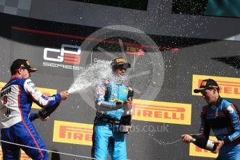 World © Octane Photographic Ltd. GP3 - Race 2. Arjun Maini (1st) – Jenzer Motorsport, Dorian Boccolacci (2nd) – Trident and Allessio Lorando (3rd) – Jenzer Motorsport. Circuit de Barcelona - Catalunya, Spain. Sunday 14th May 2017. Digital Ref:1821LB1D3186