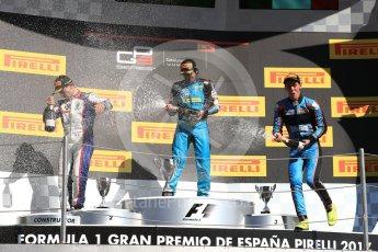 World © Octane Photographic Ltd. GP3 - Race 2. Arjun Maini (1st) – Jenzer Motorsport, Dorian Boccolacci (2nd) – Trident and Allessio Lorando (3rd) – Jenzer Motorsport. Circuit de Barcelona - Catalunya, Spain. Sunday 14th May 2017. Digital Ref:1821LB1D3205