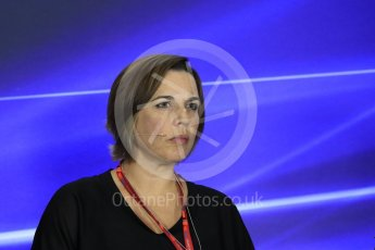 World © Octane Photographic Ltd. Formula 1 - Italian Grand Prix – Friday Team Press Conference – Part 2. Claire Williams - Deputy Team Principal of Williams Martini Racing. Monza, Italy. Friday 1st September 2017. Digital Ref: 1940LB1D3005