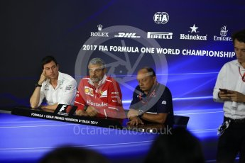 World © Octane Photographic Ltd. Formula 1 - Italian Grand Prix – Friday Team Press Conference – Part 1. Maurizio Arrivabene – Managing Director and Team Principal of Scuderia Ferrari, Frederic Vasseur – Team Principal and CEO of Sauber Motorsport AG and Toto Wolff - Executive Director & Head of Mercedes-Benz Motorsport. Monza, Italy. Friday 1st September 2017. Digital Ref: 1940LB2D8348