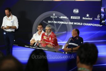World © Octane Photographic Ltd. Formula 1 - Italian Grand Prix – Friday Team Press Conference – Part 1. Maurizio Arrivabene – Managing Director and Team Principal of Scuderia Ferrari, Frederic Vasseur – Team Principal and CEO of Sauber Motorsport AG and Toto Wolff - Executive Director & Head of Mercedes-Benz Motorsport. Monza, Italy. Friday 1st September 2017. Digital Ref: 1940LB2D8375