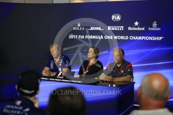 World © Octane Photographic Ltd. Formula 1 - Italian Grand Prix – Friday Team Press Conference – Part 2. Robert Fernley - Deputy Team Principal of Sahara Force India, Gene Haas - Founder and Chairman of Haas F1 Team and Claire Williams - Deputy Team Principal of Williams Martini Racing. Monza, Italy. Friday 1st September 2017. Digital Ref: 1940LB2D8402