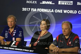 World © Octane Photographic Ltd. Formula 1 - Italian Grand Prix – Friday Team Press Conference – Part 2. Robert Fernley - Deputy Team Principal of Sahara Force India, Gene Haas - Founder and Chairman of Haas F1 Team and Claire Williams - Deputy Team Principal of Williams Martini Racing. Monza, Italy. Friday 1st September 2017. Digital Ref: 1940LB2D8406