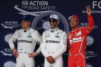 World © Octane Photographic Ltd. Formula 1 - Japanese Grand Prix - Saturday - Qualifying. Lewis Hamilton and Valtteri Bottas - Mercedes AMG Petronas F1 W08 EQ Energy+ and Sebastian Vettel - Scuderia Ferrari SF70H. Suzuka Circuit, Suzuka, Japan. Saturday 7th October 2017. Digital Ref:1977LB2D5240