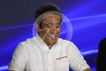 World © Octane Photographic Ltd. Formula 1 - Singapore Grand Prix – Friday Team Press Conference – Part 1. Masashi Yamamoto – General Manager Motorsports Division Honda Motor Co., Ltd. Marina Bay Street Circuit, Singapore. Saturday 2nd September 2017. Digital Ref:1960LB1D0466