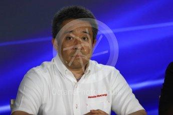 World © Octane Photographic Ltd. Formula 1 - Singapore Grand Prix – Friday Team Press Conference – Part 1. Masashi Yamamoto – General Manager Motorsports Division Honda Motor Co., Ltd. Marina Bay Street Circuit, Singapore. Saturday 2nd September 2017. Digital Ref:1960LB1D0490
