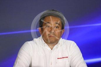 World © Octane Photographic Ltd. Formula 1 - Singapore Grand Prix – Friday Team Press Conference – Part 1. Masashi Yamamoto – General Manager Motorsports Division Honda Motor Co., Ltd. Marina Bay Street Circuit, Singapore. Saturday 2nd September 2017. Digital Ref:1960LB1D0561