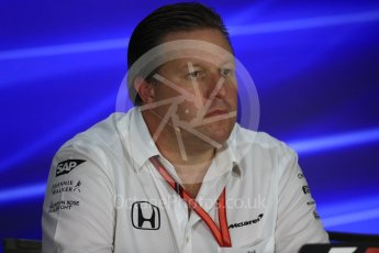 World © Octane Photographic Ltd. Formula 1 - Singapore Grand Prix – Friday Team Press Conference – Part 2. Zak Brown - Executive Director of McLaren Technology Group. Marina Bay Street Circuit, Singapore. Saturday 2nd September 2017. Digital Ref:1960LB1D0616