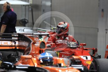 World © Octane Photographic Ltd. Formula 1 - Singapore Grand Prix - Qualifying. Kimi Raikkonen - Scuderia Ferrari SF70H. and Fernando Alonso - McLaren Honda MCL32. Marina Bay Street Circuit, Singapore. Saturday 16th September 2017. Digital Ref:1963LB1D2595