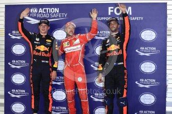 World © Octane Photographic Ltd. Formula 1 - Singapore Grand Prix - Qualifying. Sebastian Vettel - Scuderia Ferrari SF70H, Daniel Ricciardo and Max Verstappen - Red Bull Racing RB13. Marina Bay Street Circuit, Singapore. Saturday 16th September 2017. Digital Ref:1963LB1D2734