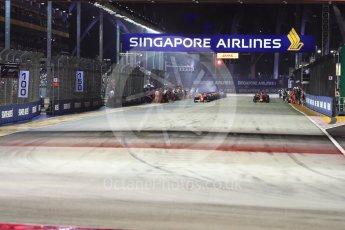 World © Octane Photographic Ltd. Formula 1 - Singapore Grand Prix - Race. Green flag lap about to get underway. Marina Bay Street Circuit, Singapore. Sunday 17th September 2017. Digital Ref:
