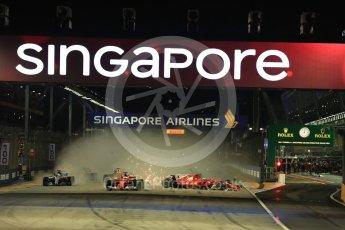 World © Octane Photographic Ltd. Formula 1 - Singapore Grand Prix - Race. Raikkonen spins in his Scuderia Ferrari SF70H after contact with Vettel. Marina Bay Street Circuit, Singapore. Sunday 17th September 2017. Digital Ref: