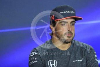 World © Octane Photographic Ltd. Formula 1 - Singapore Grand Prix – Thursday Driver Press Conference – Part 1. Fernando Alonso - McLaren Honda. Marina Bay Street Circuit, Singapore. Thursday 14th September 2017. Digital Ref: 1956LB1D7390
