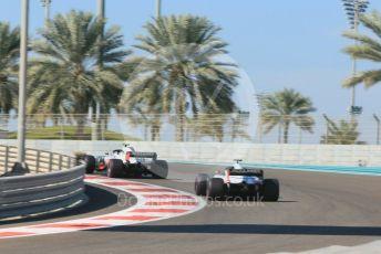 World © Octane Photographic Ltd. Formula 1 – Abu Dhabi GP - Practice 1. Haas F1 Team VF-18 – Kevin Magnussen and Romain Grosjean. Yas Marina Circuit, Abu Dhabi. Friday 23rd November 2018.