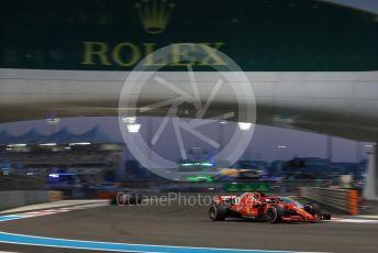 World © Octane Photographic Ltd. Formula 1 –  Abu Dhabi GP - Practice 2. Scuderia Ferrari SF71-H – Sebastian Vettel and Haas F1 Team VF-18 – Romain Grosjean. Yas Marina Circuit, Abu Dhabi. Friday 23rd November 2018.