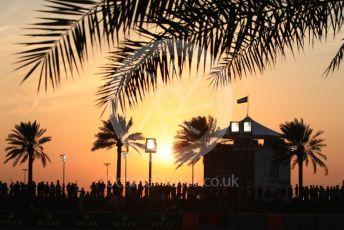 World © Octane Photographic Ltd. Formula 1 –  Abu Dhabi GP - Qualifying. Crowds on The Hill at Twilight. Yas Marina Circuit, Abu Dhabi. Saturday 24th November 2018.