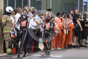 World © Octane Photographic Ltd. Formula 1 –  Abu Dhabi GP - Parc Ferme. Haas F1 Team VF-18 – Romain Grosjean and Kevin Magnussen. Yas Marina Circuit, Abu Dhabi. Sunday 25th November 2018.