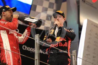 World © Octane Photographic Ltd. Formula 1 –  Abu Dhabi GP - Podium. Scuderia Ferrari SF71-H – Sebastian Vettel and Aston Martin Red Bull Racing TAG Heuer RB14 – Max Verstappen. Yas Marina Circuit, Abu Dhabi. Sunday 25th November 2018.
