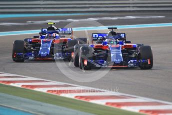 World © Octane Photographic Ltd. Formula 1 –  Abu Dhabi GP - Race. Scuderia Toro Rosso STR13 – Brendon Hartley and Pierre Gasly. Yas Marina Circuit, Abu Dhabi. Sunday 25th November 2018.