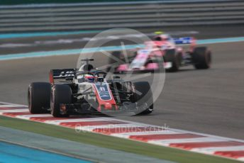 World © Octane Photographic Ltd. Formula 1 –  Abu Dhabi GP - Race. Haas F1 Team VF-18 – Romain Grosjean and Racing Point Force India VJM11 - Esteban Ocon. Yas Marina Circuit, Abu Dhabi. Sunday 25th November 2018.