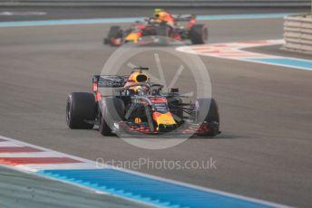 World © Octane Photographic Ltd. Formula 1 –  Abu Dhabi GP - Race. Aston Martin Red Bull Racing TAG Heuer RB14 – Daniel Ricciardo and Max Verstappen. Yas Marina Circuit, Abu Dhabi. Sunday 25th November 2018.