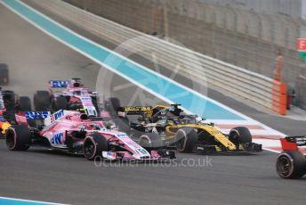 World © Octane Photographic Ltd. Formula 1 –  Abu Dhabi GP - Race. Racing Point Force India VJM11 - Esteban Ocon and Renault Sport F1 Team RS18 – Nico Hulkenberg. Yas Marina Circuit, Abu Dhabi. Sunday 25th November 2018.