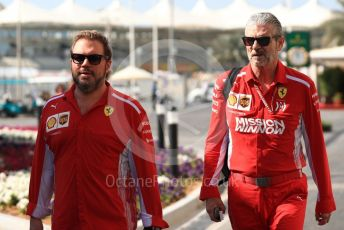 World © Octane Photographic Ltd. Formula 1 - Abu Dhabi GP - Paddock. Maurizio Arrivabene – Managing Director and Team Principal of Scuderia Ferrari and Gino Rosato – Ferrari Corporate Affairs. Yas Marina Circuit, Abu Dhabi. Friday 23rd November 2018.