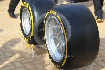 "World © Octane Photographic Ltd. Formula 1 –  Abu Dhabi GP - Paddock. Pirelli new 19inch (19"") tyre. Yas Marina Circuit, Abu Dhabi. Sunday 25th November 2018."