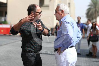 World © Octane Photographic Ltd. Formula 1 - Abu Dhabi GP - Paddock. Lance Stroll father Lawrence Stroll - investor, part-owner of Racing Point Force India Formula 1 team and Gerhard Berger. Yas Marina Circuit, Abu Dhabi. Sunday 25th November 2018.