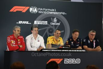 World © Octane Photographic Ltd. Formula 1 - United States GP - Friday FIA Team. Maurizio Arrivabene – Managing Director and Team Principal of Scuderia Ferrari, Cyril Abiteboul - Managing Director of Renault Sport Racing Formula 1 Team, Christian Horner - Team Principal of Red Bull Racing, Otmar Szafnauer - Team Principal of Racing Point Force India and Toto Wolff - Executive Director & Head of Mercedes - Benz Motorsport. Yas Marina Circuit, Abu Dhabi. Friday 23rd November 2018.