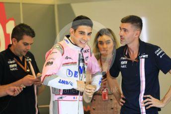 World © Octane Photographic Ltd. Formula 1 –  Abu Dhabi GP - Pit Lane. Racing Point Force India VJM11 - Esteban Ocon. Yas Marina Circuit, Abu Dhabi. Thursday 22nd November 2018.