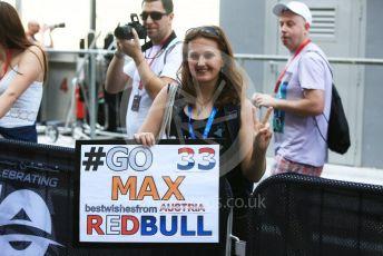 World © Octane Photographic Ltd. Formula 1 –  Abu Dhabi GP - Paddock. Aston Martin Red Bull Racing TAG Heuer RB14 – Max Verstappen fan. Yas Marina Circuit, Abu Dhabi. Thursday 22nd November 2018.