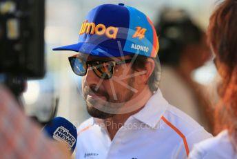 World © Octane Photographic Ltd. Formula 1 –  Abu Dhabi GP - Paddock. McLaren MCL33 – Fernando Alonso. Yas Marina Circuit, Abu Dhabi. Thursday 22nd November 2018.