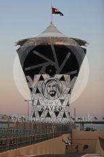 World © Octane Photographic Ltd. Formula 1 –  Abu Dhabi GP - Pit Lane. Year of Zayed marking on the race control tower. Yas Marina Circuit, Abu Dhabi. Thursday 22nd November 2018.