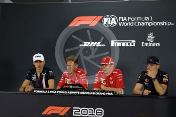 World © Octane Photographic Ltd. Formula 1 – Abu Dhabi GP - FIA Drivers' Press Conference. Racing Point Force India - Esteban Ocon, Scuderia Ferrari – Kimi Raikkonen, Aston Martin Red Bull Racing TAG Heuer – Max Verstappen and Scuderia Ferrari – Sebastian Vettel. Yas Marina Circuit, Abu Dhabi. Thursday 22nd November 2018.