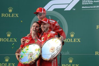World © Octane Photographic Ltd. Formula 1 – Australian GP - Podium. Scuderia Ferrari SF71-H – Sebastian Vettel (1st) and Kimi Raikkonen (3rd) – Inake Rueda – Ferrari Race Strategist. Albert Park, Melbourne, Australia. Sunday 25th March 2018.