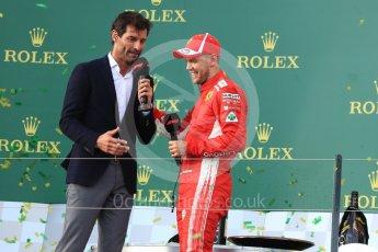 World © Octane Photographic Ltd. Formula 1 – Australian GP - Podium. Mark Webber and Scuderia Ferrari SF71-H – Sebastian Vettel. Albert Park, Melbourne, Australia. Sunday 25th March 2018.