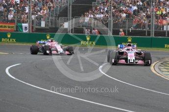 World © Octane Photographic Ltd. Formula 1 – Australian GP - Race. Sahara Force India VJM11 - Sergio Perez and Esteban Ocon. Albert Park, Melbourne, Australia. Sunday 25th March 2018.