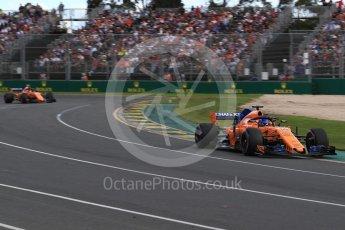 World © Octane Photographic Ltd. Formula 1 – Australian GP - Race. McLaren MCL33 – Fernando Alonso and Stoffel Vandoorne. Albert Park, Melbourne, Australia. Sunday 25th March 2018.