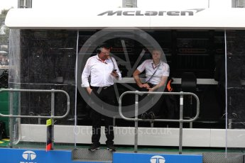 World © Octane Photographic Ltd. Formula 1 - Australian GP - Practice 3. Eric Boullier - Racing Director of McLaren and Paul James – Team Manager. Albert Park, Melbourne, Australia. Saturday 24th March 2018.